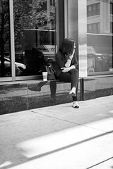 Starbucks in waiting (dharder9475) Tags: 2015 bw blackandwhite candid looking privpublic reflection sitting starbucks storefront streetphotography window woman