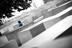 always with book (www.carbonat380.de) Tags: 095 425mm berlin gx7 jewishmonument jdischesdenkmal kuben lenstagger microfourthirds panasonic voigtlander voigtlnder book bookeh colourkey cube cubes cubic grey shadow stones street structure