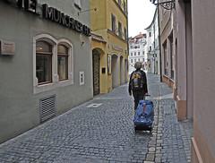 Leaving Regensburg (Runemaker) Tags: patricia regensburg bavaria bayern street hotel mnchnerhof tndlergasse strase gasse woman frau germany deutschland