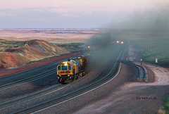 Grinding Up Logan Hill (Wheelnrail) Tags: loram rail grinder logan hill wyoming orin subdivision up bnsf railroad lights track west dusk beautiful