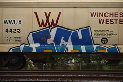 ICH (TheGraffitiHunters) Tags: graffiti graff spray paint street art colorful freight train tracks benching benched ich ichabod hopper yme circle t