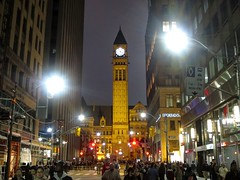 Nuit Blanche 2 (euanwhite) Tags: toronto nuitblanche nuit blanche old city hall oldcityhall clock tower people street night festival