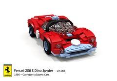 Ferrari 206 S Dino Spyder (Carrozzeria Sports Cars - 1966) (lego911) Tags: auto italy classic cars sports car model italian dino lego render under over 206 s ferrari spyder 1966 million 1960s challenge lemans thousand 006 racer v6 89 povray moc drogo ldd carrozzeria miniland lego911 overamillionunderathousand
