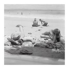 Wategos 2 (JoshuaOldfield) Tags: bw sun 6x6 beach zeiss bay sand surf fuji australia screen hasselblad squareformat neopan summertime 100 byron f28 acros 80mm drumscan wategos blackwhitefilm hasselblad501c danipon