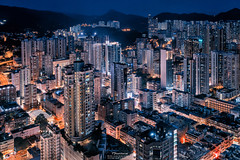 Tsuen Wan West (mikemikecat) Tags: street house west building rooftop architecture night vintage hongkong evening twilight colorful pattern sony cityscapes hong kong nostalgia housing block nightview wan     stacked nightscapes estates      tsuen  ninatower a7r    ninahotel   sel2470z mikemikecat