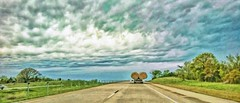 ROADTRIPPING (Irene2727) Tags: road travel trees sky green nature clouds truck landscape roadtrip hay roadside asphalt balesofhay wideopenspaces