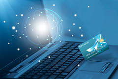 Online shopping. (Krunja) Tags: world abstract modern digital work computer notebook design pc globe keyboard media technology phone graphic display map earth background laptop web touch internet www social icon screen device communication equipment business company website software future data wireless networking info network contact concept electronic information connection futuristic visa global connect creditcard