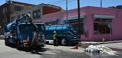 Sewage Leak (LeonardFiles) Tags: losangeles downtown sewage leak pipe burst waste vacuumtruck crews california usa