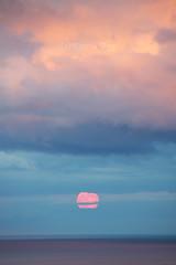 Romantic Blue Moonrise In Sunset Colours (Katrin Ray) Tags: pink blue light sunset sky orange moon lake toronto ontario canada reflections golden haze fullmoon moonrise dreamy cloudscape bluemoon peachy ontariolake moonrising canonphotography supermoon dreamscapesoftoronto katrinray poeticrisingofthesecondjulymoon romanticbluemoonrisewithsunsettouch