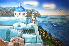 Summer in Greece - painting [EXPLORED Aug 7, 2016 - 254] (Vicky Vance) Tags: painting summer santorini summeringreece hellas vacation sea sky colours light oia cruise freetime vickyvance 2010 2011 2012 2013 2014 2015 2016 travel mariners navigators seafarer officers maps charts nauticalinstruments clouds waves salt ships vessels anchor waiting missing compass seashells treasure pirates boats sailingboats kissing tropical palmtrees seafoam rocks morsecode wheel rope traveling vickyvancephotography nikonphotography 希腊 ελλάδα greece grecia греция griekenland grèce griechenland ギリシャ 그리스 กรีซ vassilikiprokopiou βασιλικήπροκοπίου prokopiou vp vassilikiprokopiouphotography