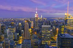Manhattan from Top of the Rock (FengboLi) Tags: nyc newyorkcity light sunset skyline top manhattan rockefellercenter metropolitan topoftherock birdview