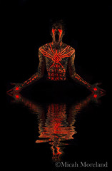 Dark Baptism (micahmoreland) Tags: fiction portrait reflection male film water blackbackground pose dark movie religious mirror design robot scary paint neon experimental message body ominous space alien hologram evil science creepy fluorescent blacklight future cult scifi horror videogame sciencefiction demonic cyborg outerspace creature cinematic futuristic holographic