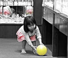 Little Girl and  a Yellow Balloon (Karen McQuilkin) Tags: child candid balloon maui archives postprocessing selectivecoloring girlandballoon sliderssunday karenmcquilkin