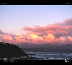 Marshmallow Moon (tomraven) Tags: pink houses sunset sky cloud sun mountains water clouds lumix coast surf waves coastal moonrise marshmallow gx8 tomraven aravenimage q32016