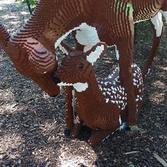 Lisle, IL, Morton Arboretum, Lego Doe and Her Fawn (Mary Warren (7.1+ Million Views)) Tags: sculpture brown art lego doe deer fawn mortonarboretum lisleil