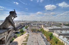 Gargoyle Over Paris (Nola Nate) Tags: gargoyle notredameparisfrance ibeauty europe eiffeltower
