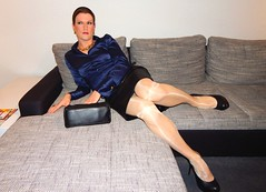 Satinblouse & leatherskirt (Rikky_Satin) Tags: satin silk blouse leather skirt highheels handbag crossdresser transgender transvestite tranny classy strict business