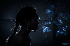 Incense (vincent.lecolley) Tags: silhouette lowkey incense meditation woman philippines asia beautiful wild smoke portrait blue