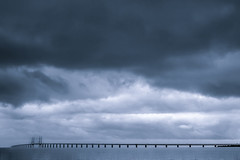 Crossing (Chris Herzog) Tags: ifttt 500px bridge oeresund sweden danmark sea long crossing blue clouds storm weather rough