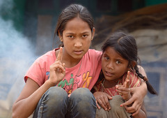 sisters (Ivo De Decker back from holiday) Tags: bandapur nepali nepal nepaligirl smoke outdoor streetlife ivodedecker travel