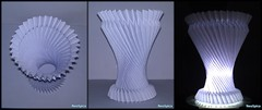 "Hyperboloid Curvature With ""Knife Pleats"" 1/2 (NeoSpica / NeoLiveArt) Tags: paper fold origami pleat pleating hyperboloid curved curvature knife pleats knifepleats paperlamp nightlamp lampshade plissage paperstructure tessellations accordionfold parametric crafted art crafts lamp"