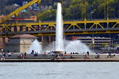 Point State Park Fountain, Pittsburgh, April 2015 (evz922) Tags: park county city bridge people urban usa seagulls public water fountain birds point outdoors hotel washington community pittsburgh state fort pennsylvania mount spout pitt sheraton allegheny feature