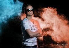 "Victor from Klaninfection (""Holi""-Shooting) (grothe.manuel) Tags: portrait 35mm dj powder lowkey holi glaucous primelens nikond5300 klanginfection"