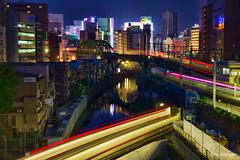 Train crossing (koshichiba) Tags:    tokyo japan nightscape megacity night city cityscape train light metoro ochanomizu lights long exposure jr uraban railways skyline