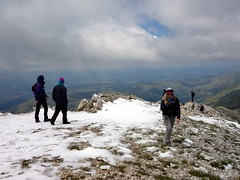Edita makes a video on Pizzo Cefalone's summit plateau (markhorrell) Tags: italy walking abruzzo gransasso apennines pizzocefalone