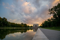 DC Reflections at Sunset (Jordan Salkin) Tags: plane flying fly dc districtofcolumbia photo photooftheday photograph photography photographic 2016 roadtrip travel fun pretty reflection reflections sunet sunset sun sunlight goldenhour golden trees color colors colorsful interesting unique perspective scene scenery scenic cloud clouds memorial licoln licolnmemorial duck ducks swimming water waters follow followme like likes explore