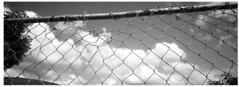 compromise (bc50099) Tags: hasselbladxpan 30mmlens kentmere400 modifieddiafineinetjoker55a5b clouds cloudscape fence blackandwhite panoramic daylight