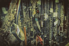The brass section. (Rob Clowes) Tags: paris streetlife niksoft music instrument instruments shop woodwind brass clarinet saxophone analogefex lightroom canon 7d canon7d nikcollection nik