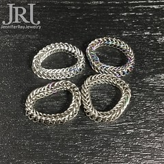 Chainmaille rings. Who's in? Stainless Steel, Niobium plain & Anodized, Titanium and Niobium (left to right top to bottom) #jenniferrayjewelry #jrj #chainmaille #chainmail #ring #menstyle #mengear #stainlesssteel #titanium #niobium #anodized #worryring #h (JenniferRay.com) Tags: instagram carbon fiber jewelry exclusive jrj jennifer ray paracord custom