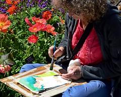 Poppies... Poppies. (armykat) Tags: artist art painting artistatwork longwoodgardens poppies kennettsquarepennsylvania canvas painter brush paintbrush