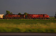 CP 9351 Storm Light Pace (rathman11) Tags: train locomotive cp9351 canadianpacific gees44ac cp8607 geac44cw wasecasubdivision sunset goldenlight stormlight pace