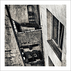 balconies (j.p.yef) Tags: peterfey jpyef yef house facade backyard germany kiel theresa hinterhof balkons balkone balconies bw sw digitalart square windows urban monochrome