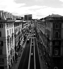 """""""Old Photography"""" (giannipaoloziliani) Tags: road old city windows light sky people blackandwhite italy cars buildings landscape downtown view skyscrapers liguria horizon citylife streetphotography monochromatic genoa genova shops oldphoto longview palaces oldandnew architectures urbanstreet shoppingroad"""