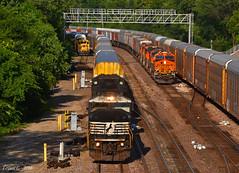 "Westbound Autorack Train in Kansas City, KS (""Righteous"" Grant G.) Tags: city railroad west train ns norfolk railway trains southern kansas locomotive freight bnsf westbound emd intermodal"