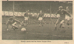 v crystal palace   H 02 (2) (1920 to 79.80 pete,colin & paul.) Tags: portsmouth versus crystal palace 1960s sixties 196768 60s vintage newspaper photograph football scrapbook uk soccer england ray pointer