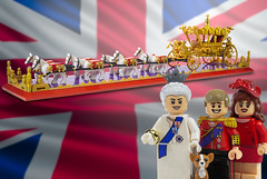 The Gold State Coach (Brickadier General) Tags: lego gold state coach british royal family queen elizabeth prince william kate middleton corgi carriage britain england historical moc minifigsme golden