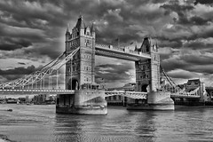 Tower Bridge, London (NickeiG) Tags: london bridge photography thames river tide clouds hdr uk united kingdom england black white stone old fashioned history ancient reflections nik google lightroom d5200 nikon canon sky dramatic