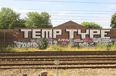 TEMP TYPE (JOHN19701970) Tags: temp type graffiti graff aerosol spray paint london artist wall fund t32 32 rans nehs drost enta temp32 hampstead trackside august 2016 16 england uk roller
