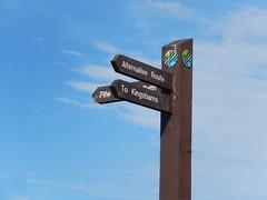 Signpost for Kingsbarns, 2016 Sep 10 (Dunnock_D) Tags: uk unitedkingdom britain scotland fife sky signpost sign post kingsbarns blue