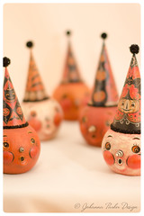 Johanna-Parker-Jacks-with-Hats (Johanna Parker Design) Tags: johannaparker halloween folkart originals collectible whimsical sculpture handmade oneofakind jackolantern jol hat partyhat illustration