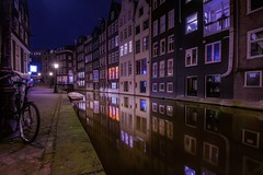 Calm in Amsterdam (karinavera) Tags: travel nikond5300 street city boat amsterdam longexposure bike night urban