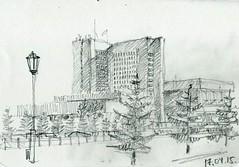 Legislative assembly building, Novosibirsk, Russia (sverkhpena) Tags: architecture pencil landscape sketch drawing