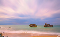 The Biarritz Twins (marceldegroot59) Tags: pink blue sea sky france green beach colors lines clouds french landscape lights bay moving rocks exposure view purple pastel perspective dream atlantic biarritz waterscape aquitaine