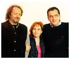 1996 - Carlo Serafini insieme ai fondatori di radio Latte e Miele, Franco Mignani e Rita Salis