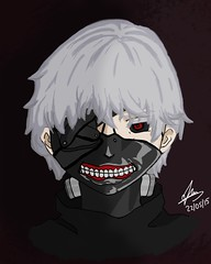 Kaneki's Ghoul (Sofia ~Chateau D'Esprit~) Tags: red anime pen photoshop silver hair tokyo eyes graphics mask touch tablet wacom ghoul kaneki intuous