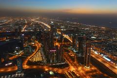Dubais Skyline (norredin) Tags: sunset building skyline night dubai uae emirates khalifa burj
